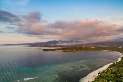 Professional aerial drone photography of the Beach Villa Lombok by LuxViz in Bali Indonesia