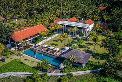 Professional aerial drone photography of Jeeva Saba by LuxViz in Bali Indonesia