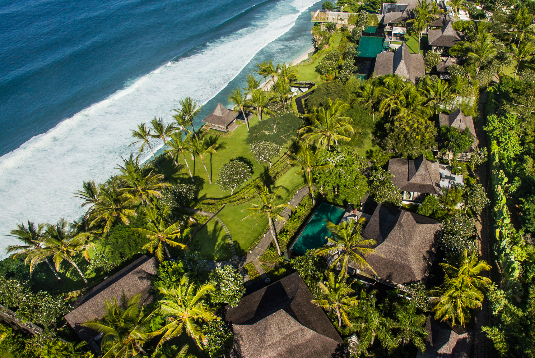 Pool, garden, villa layout, beach, ocean, and Pecatu and Uluwatu Bali views