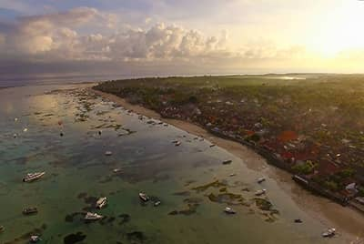 Professional aerial drone photography of Lembongan Island Beach Villas by LuxViz in Bali Indonesia