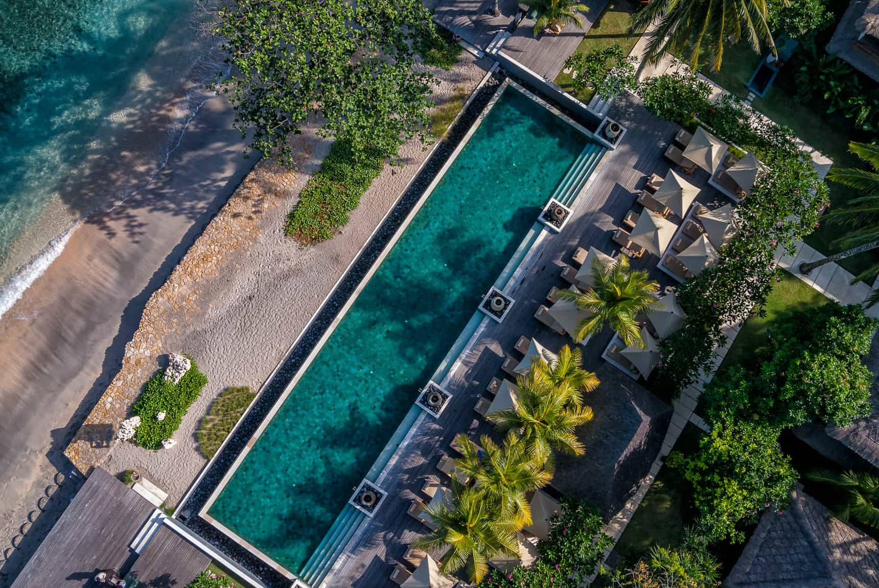 Ocean, pools, gardens, and hotel layout views