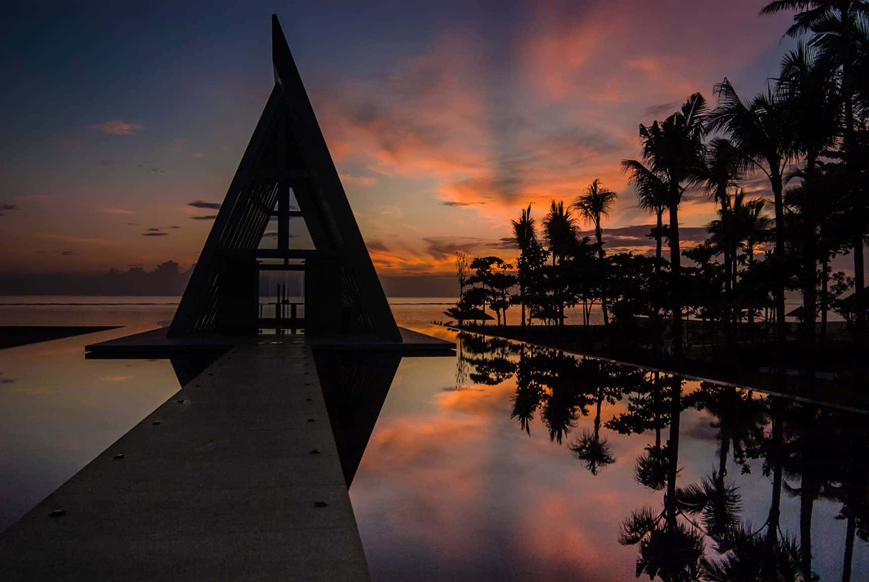sunrise at the wedding chapel Conrad Bali