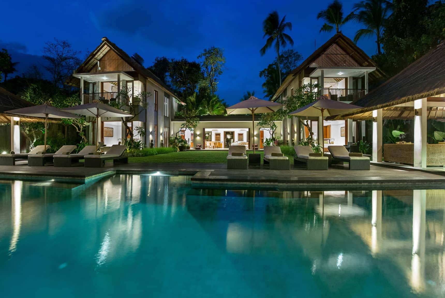 dusk pool views Seseh Beach Villas in Bali