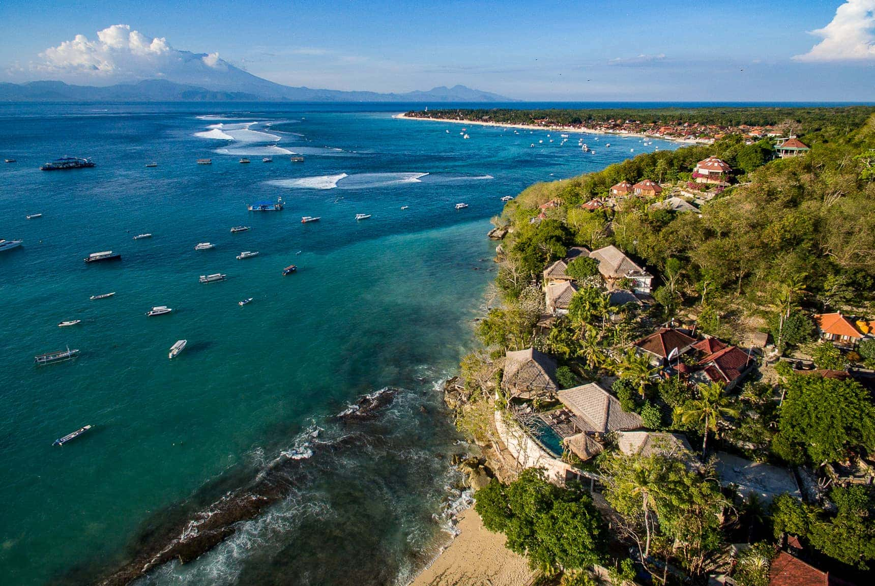 aerial drone views over Villa Sayang on Nusa Lembongan