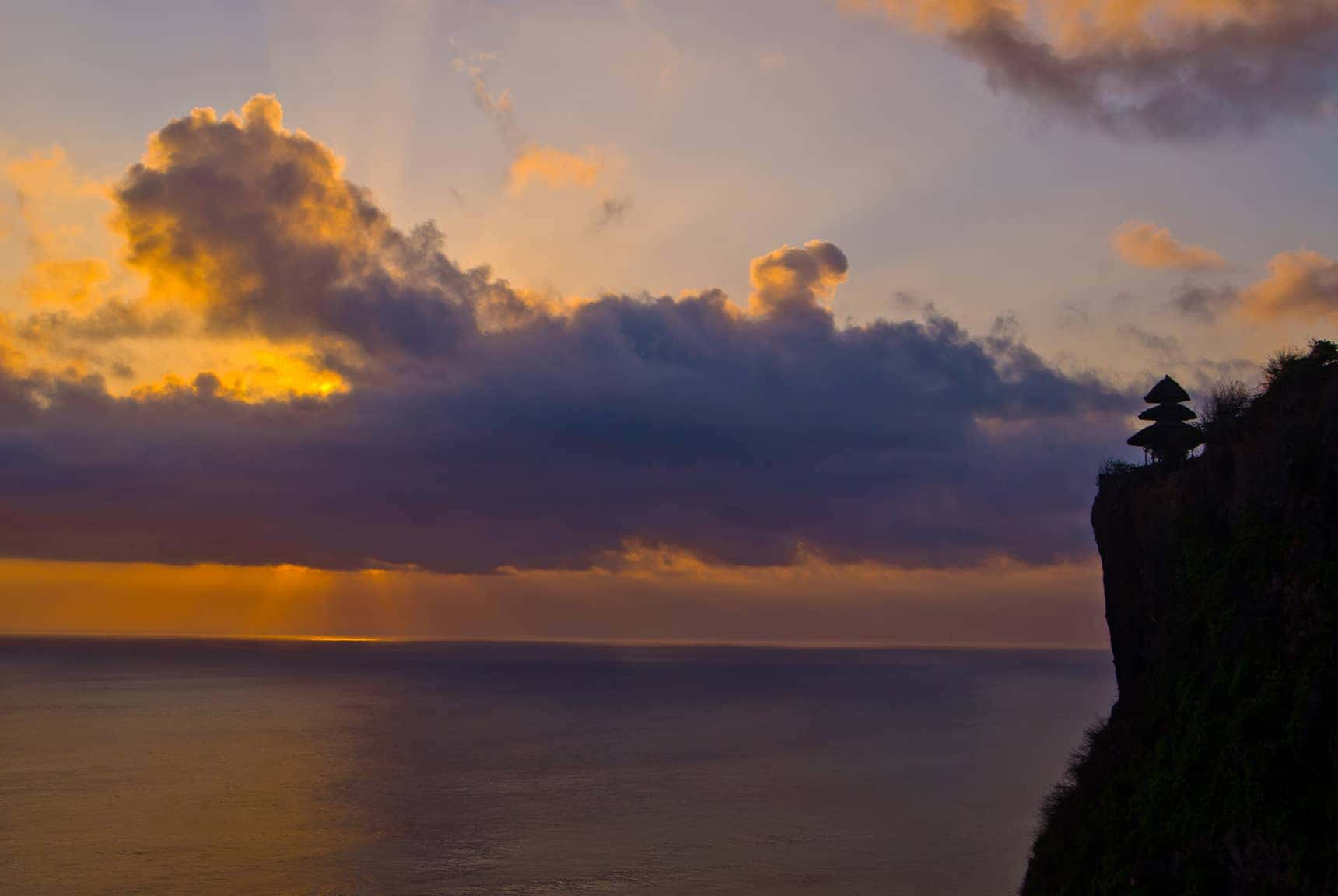 sunset views from Uluwatu Temple in Bali