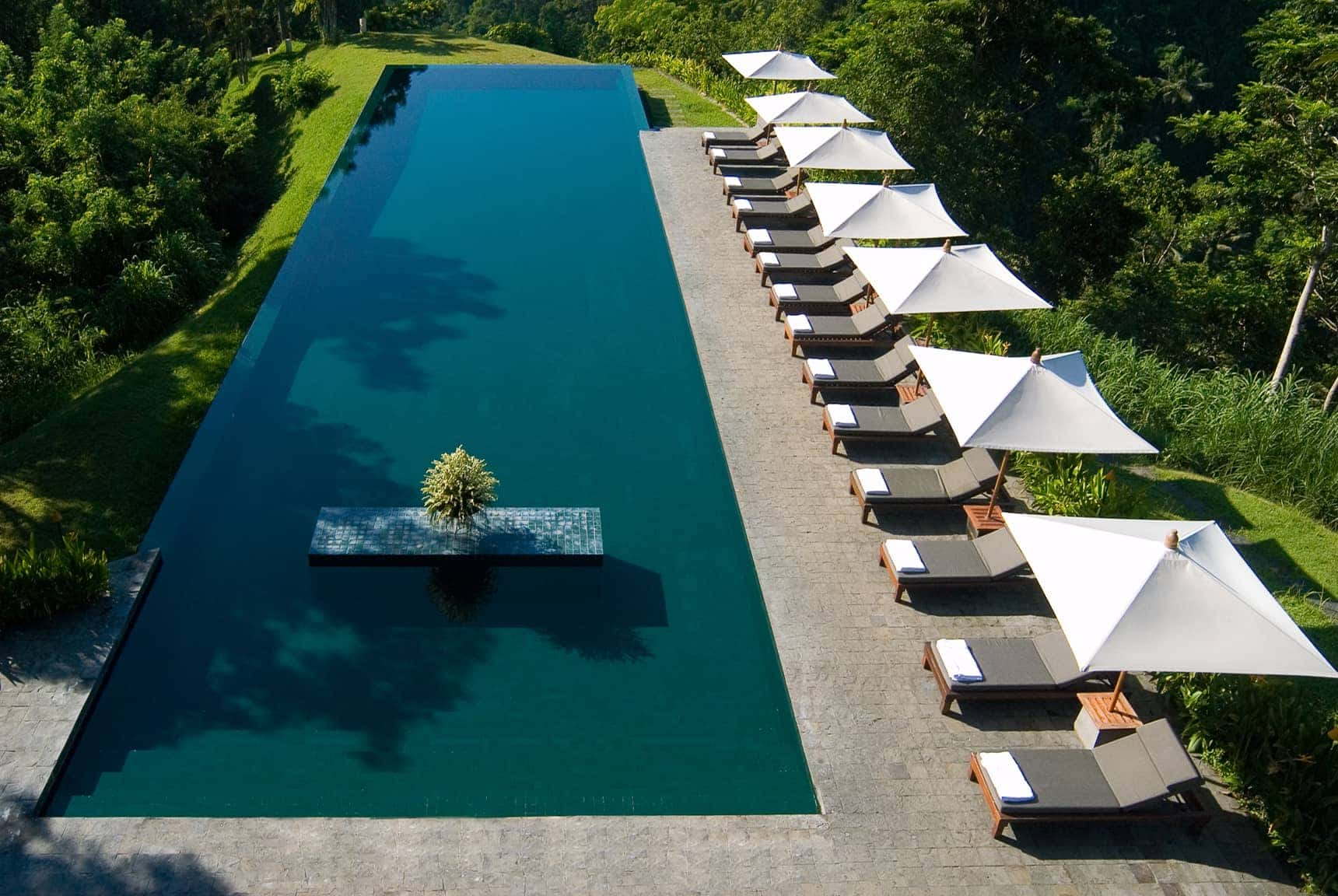 early morning swimming pool views Alila Ubud in Bali