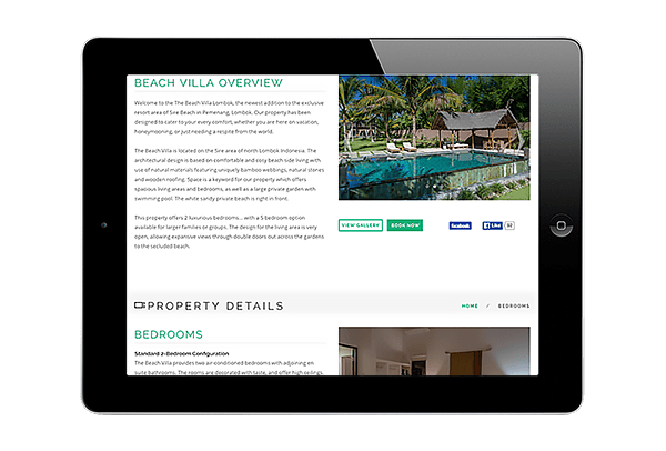LuxViz mobile-optimized website for luxury hotels and villas - tablet layout