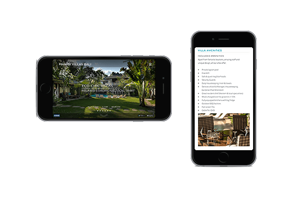 LuxViz mobile-optimized website for luxury hotels and villas - phone layout
